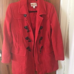 Talbots red wool coat